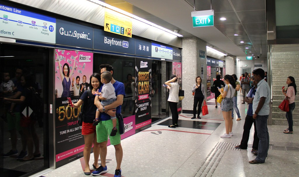 Singapore: Bayfront MRT station, showing platform screen doors
