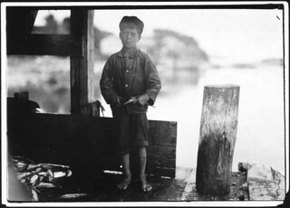 "Hiram Pulk, 9 years old, cuts some in a canning company. ""I ain't very fast only about 5 boxes a day. They pay about 5 cents a box,"" August 1911 