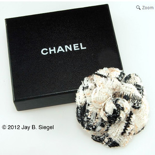 Ruby Lane     CHANEL Black & White Tweed Camellia Brooch Pin | by WhereVintageIsKing