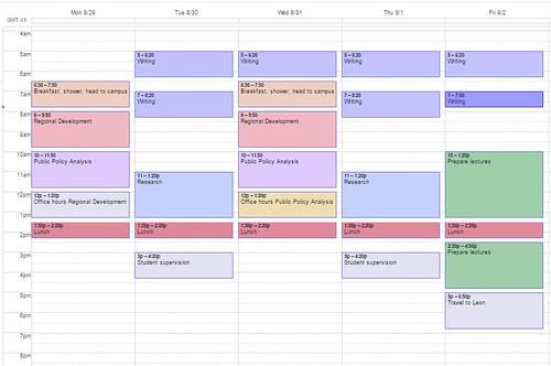 Calendar for the fall 2016