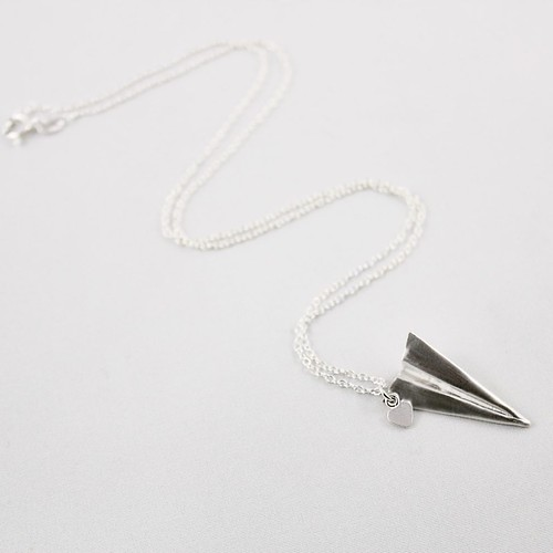 Silver Folded Paper Airplane Necklace