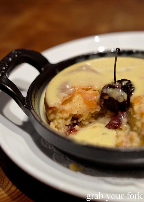 Gateaux Basque, preserved cherries and vanilla sauce at Mercado restaurant, Sydney