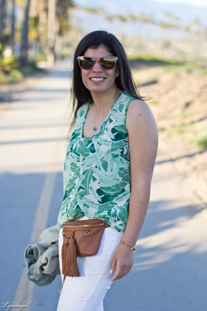 palm print blouse, white jeans, jeweled sandals, waist bag-1.jpg
