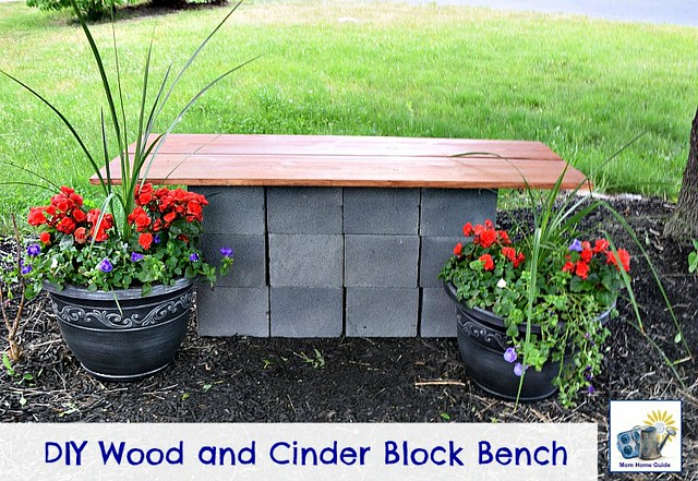 Benches or Tables using cinder cement blocks.