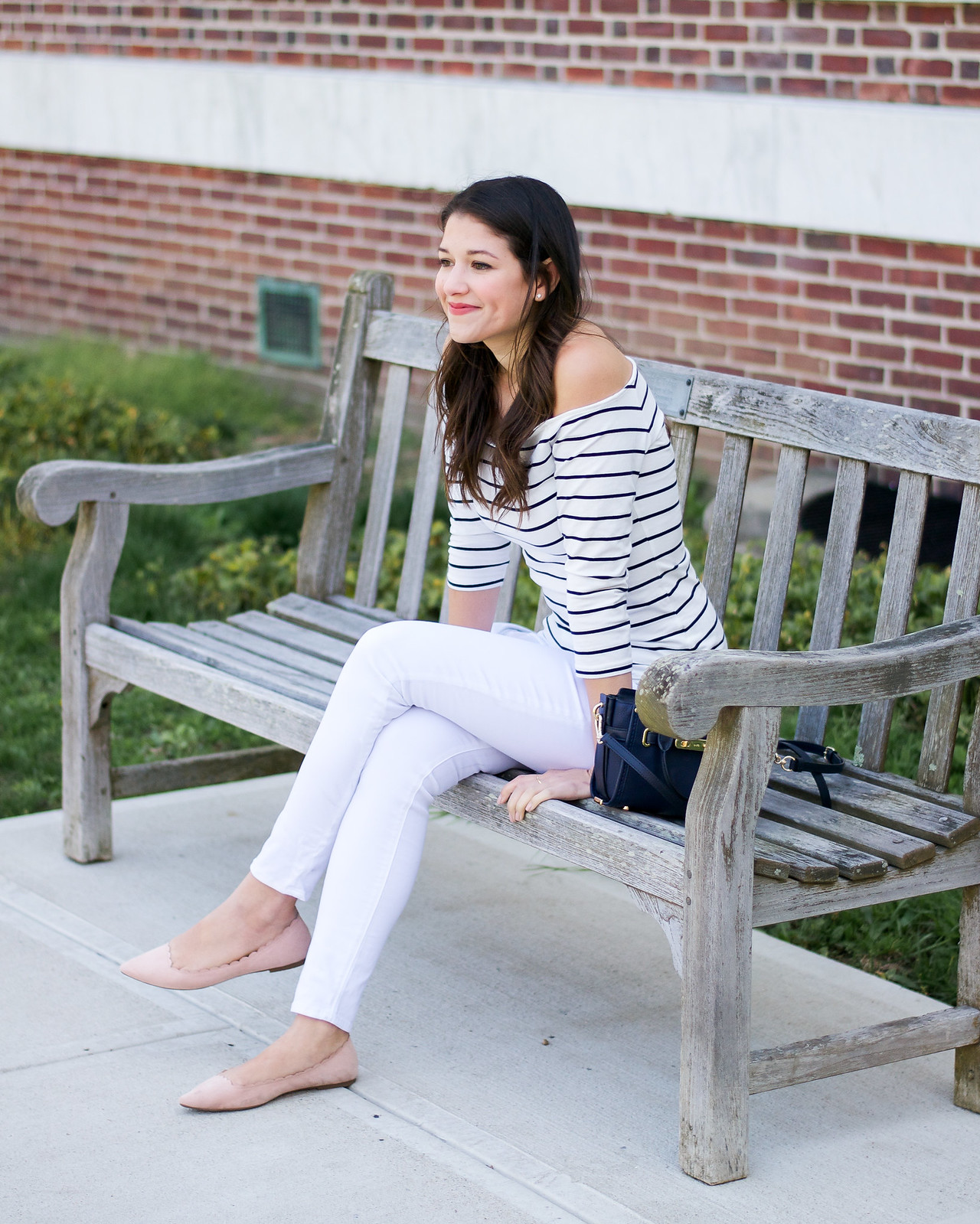 Stripe Top and White Jeans Outfit