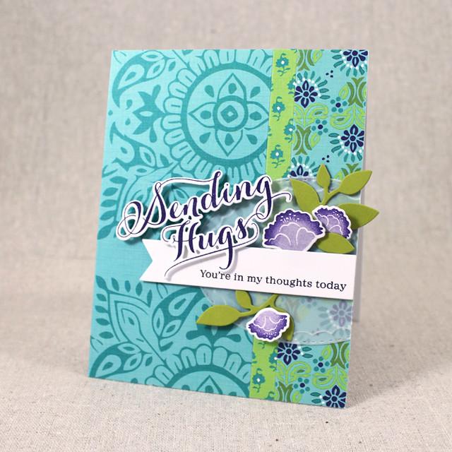 Woodblock Sending Hugs Card