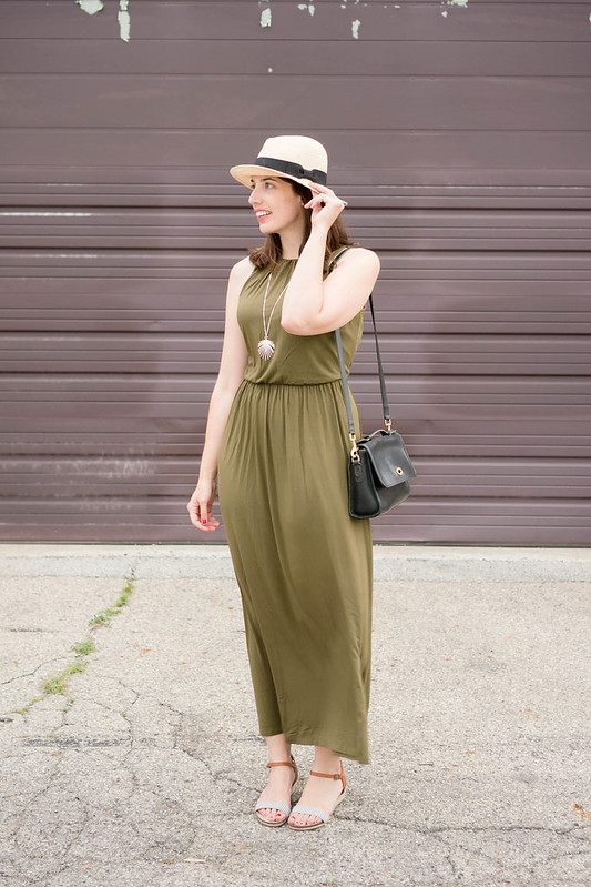 green maxi dress + summer hat + stripe sandals + palm leaf necklace; casual summer outfit | Style On Target