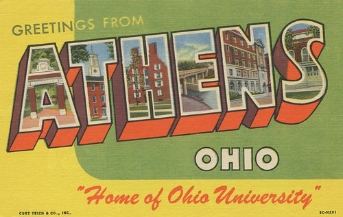 "Greetings from Athens, Ohio, ""Home of Ohio University"" - Large Letter Postcard 