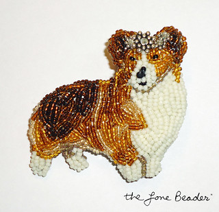 QUEEN CORGI bead embroidery art pin - royal beaded dog jewelry for humans:) | by The Lone Beader