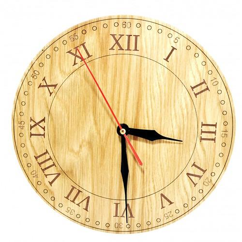 Đồng hồ gỗ hình tròn - hoa văn số 2
