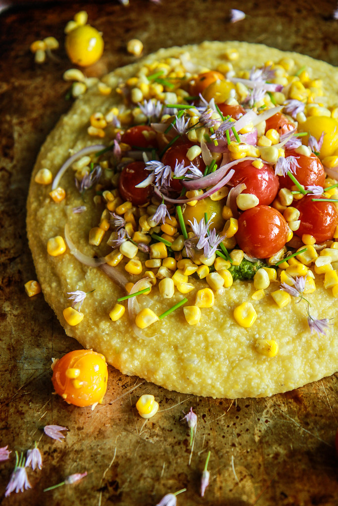 Soft Polenta with Corn and Tomatoes and Pesto- vegan and Gluten free from HeatherChristo.com