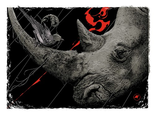 Aaron Horkey 'Only Death Is Real' limited edition silk screen print for 'Wild At Heart' endangered species benefit at Thinkspace | by thinkspace_gallery