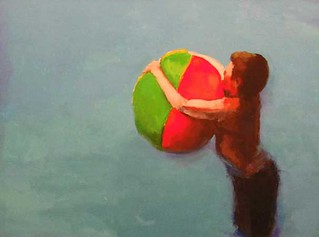 "Stephen Coyle, Beach ball, alkyd on linen, 18"" x 24"" 