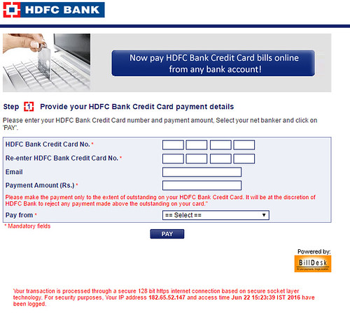 hdfc bank credit card payment through cash