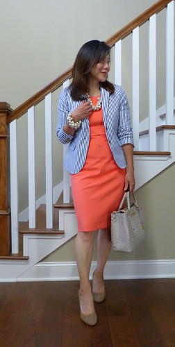 pink sheath + blue stripes