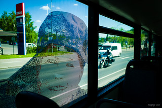 Face in the bus window | by markvall