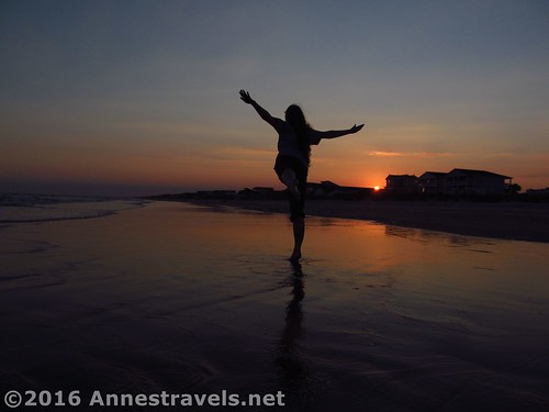 Dancing in the sunset at Holden Beach, North Carolina