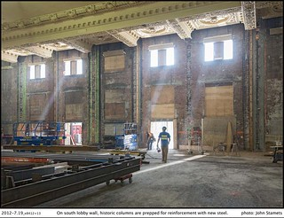 King Street Station Project: 2012-7.19_e8412+13On south lobby wall, historic columns are prepped for reinforcement with new steel. | by Seattle Department of Transportation