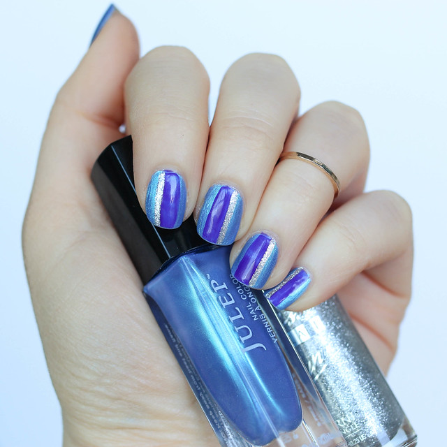 Purple, Silver and Blue Striped Manicure | Easy Nail Art Tutorial on Living After Midnite by Jackie Giardina | Beauty Blogger