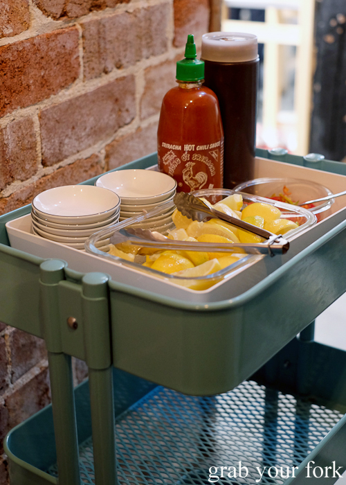 Condiment trolley for pho at Eat Fuh, Marrickville