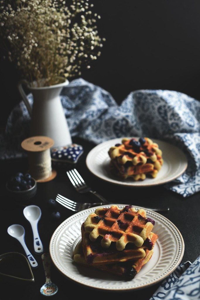 blueberry - lemon almond waffles
