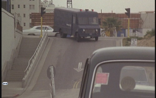 S.W.A.T. Truck turns south down Cedar Ave. from eastbound Ocean Bl., The Pike, Long Beach, California, 1975 | by Dr. Disney Wizard