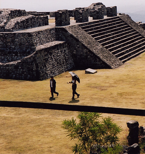 Stairs on the pyramid of Xochicalco in Mexico