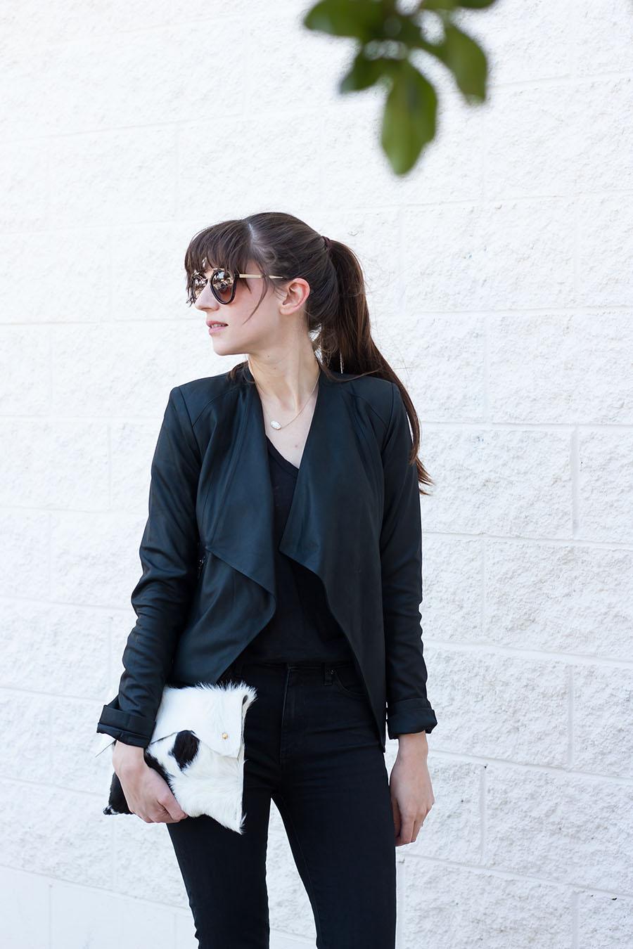 Black Leather Jacket, Cowhide Clutch, Prada Sunglasses