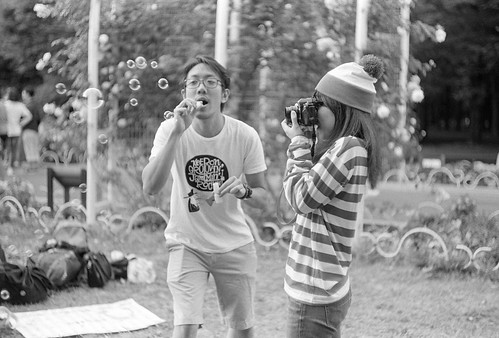 camera girl & bubble guy