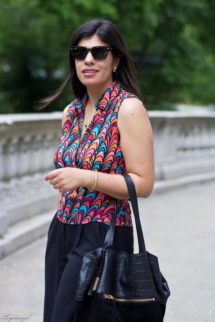 scallop print wrap blouse, black culottes, nude platform sandals-4.jpg