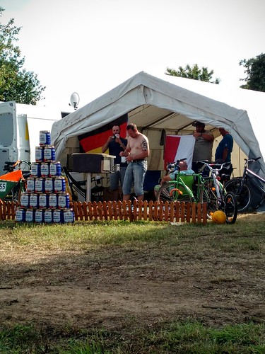 Our camping neighbours' beer pyramid