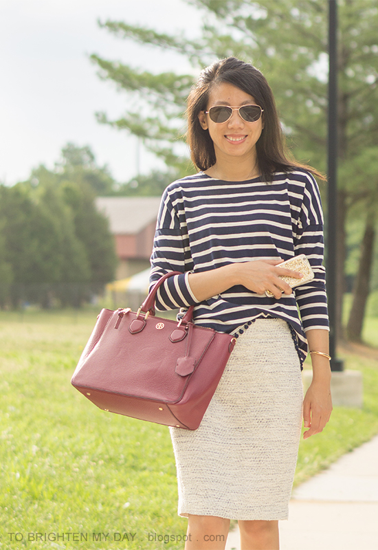 navy striped top with pom poms, tweed pencil skirt, red purple tote
