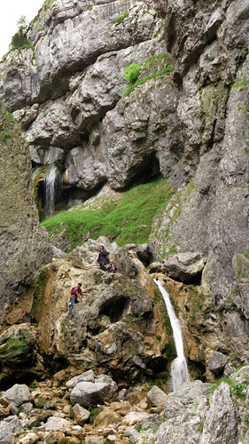 The two waterfalls at the Gordale Scar on our Malham walk in the Yorkshire Dales of England
