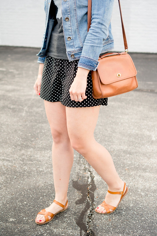 polka dot shorts + home tee indiana + denim jacket + panama hat + tan accessories; casual summer outfit | Style On Target