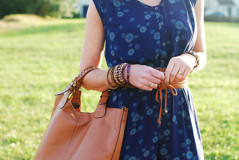 Simple summer styling: Blue floral jumpsuit with tan accessories | Not Dressed As Lamb