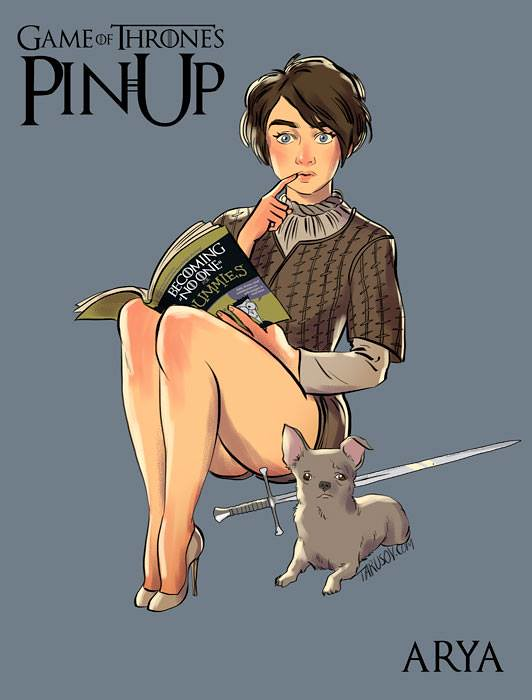 Risqué Game of Thrones pin-up girls by Andrew Tarusov - Arya Stark