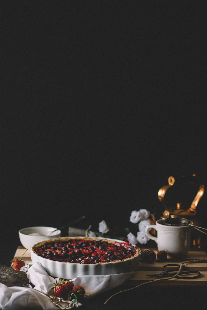 Mixed Berry Tart with Ginger Beer & Whipped Chamomile Cream