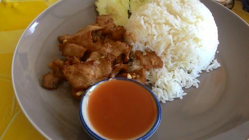Thai food  fried pork with garlic& pepper
