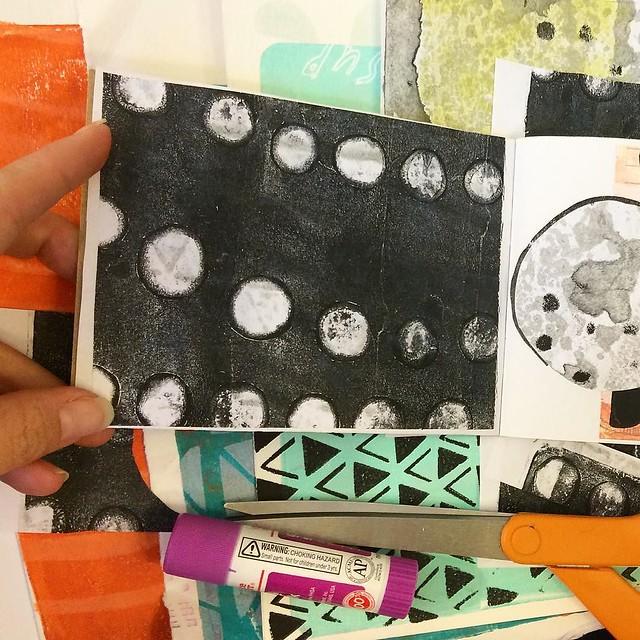 Gluing paper down. To see the full thing, check #littleartbook 63/100 #robayre100days #robayrepaperpiles #the100dayproject #cutandpaste #collage