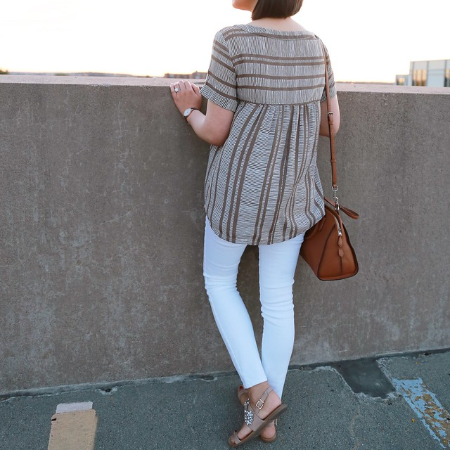 OOTD:  Striped Drapey Hi-Lo Top & White Denim