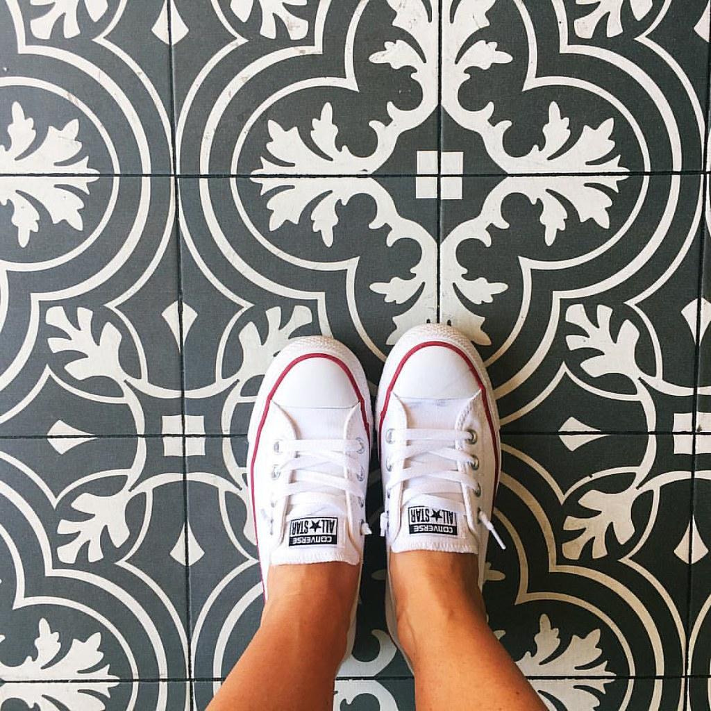 When the gelato shop floors in Barcelona match your kitchen backsplash. 😍 #sugarplumtravels #comebacknew