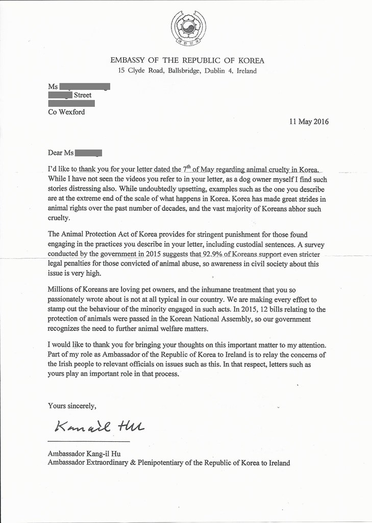 Response letter from Embassy of Korea in Ireland_May 11, 2016