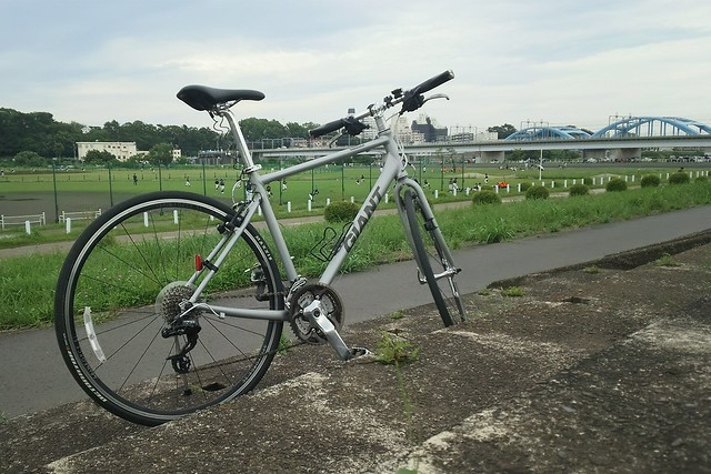 多摩川サイクリングロードにて