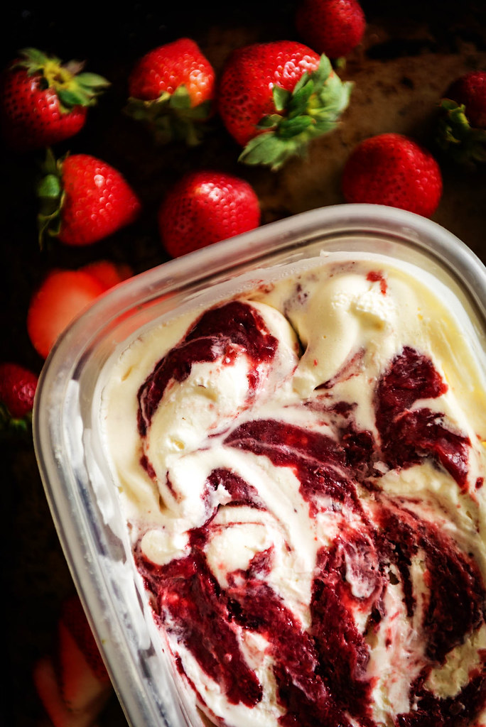 Sweet Cream Ice Cream with Roasted Strawberry Jam Swirl {Pass the Sushi}
