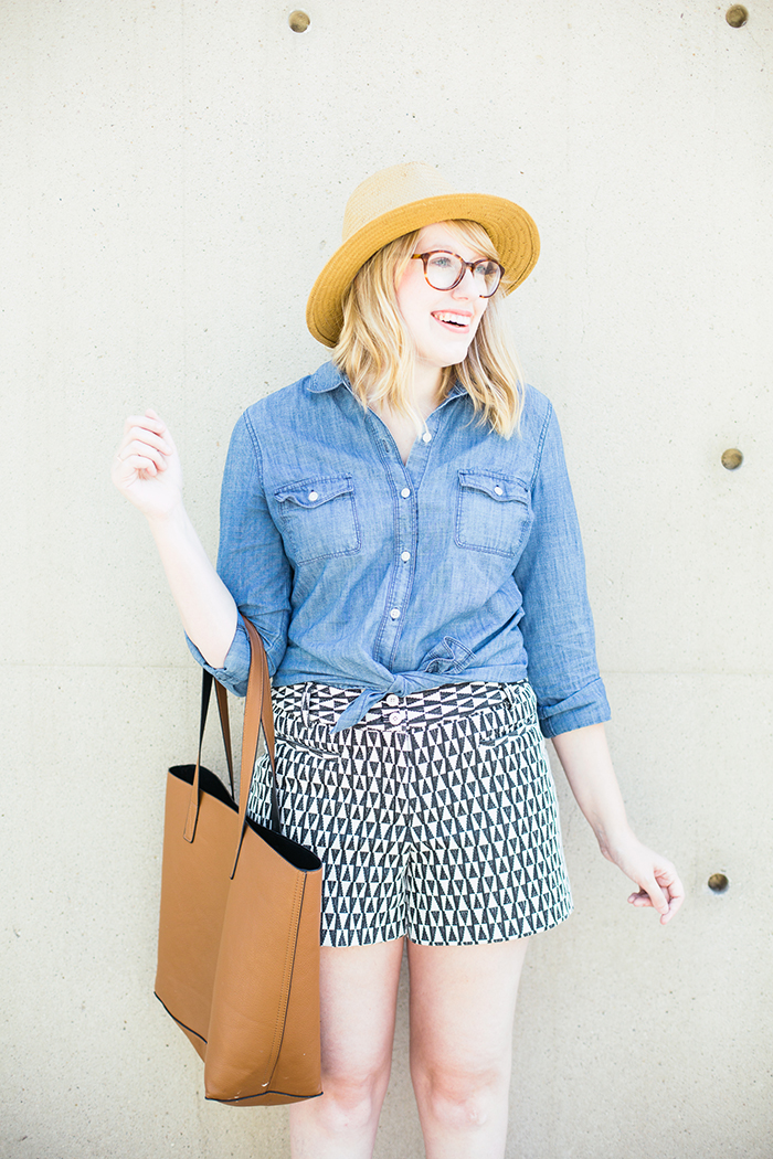 printed shorts chambray shirt2