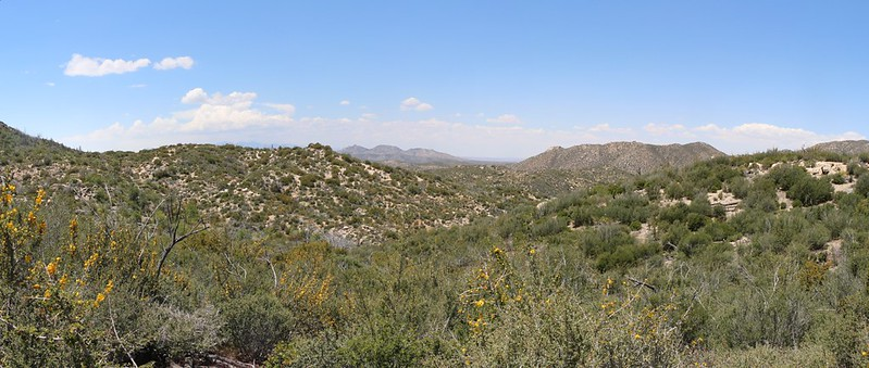 View west with The Pinnacles, center (5630 ft), and Deer Mountain (5525 ft) on the right