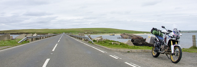 Africa Twin at one of the Churchill Barriers, Orkney.