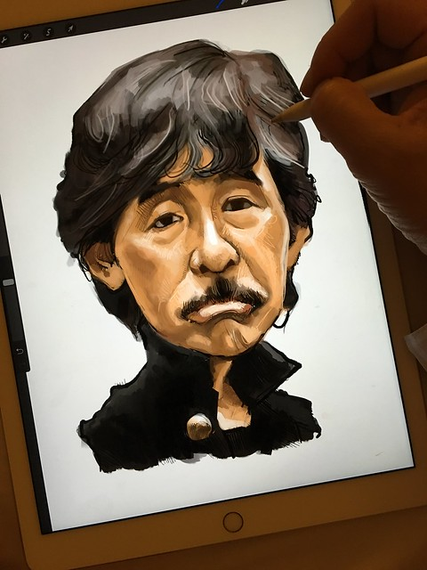 Digital painting of George Lam 林子祥 on iPad Pro + Apple Pencil in Procreate
