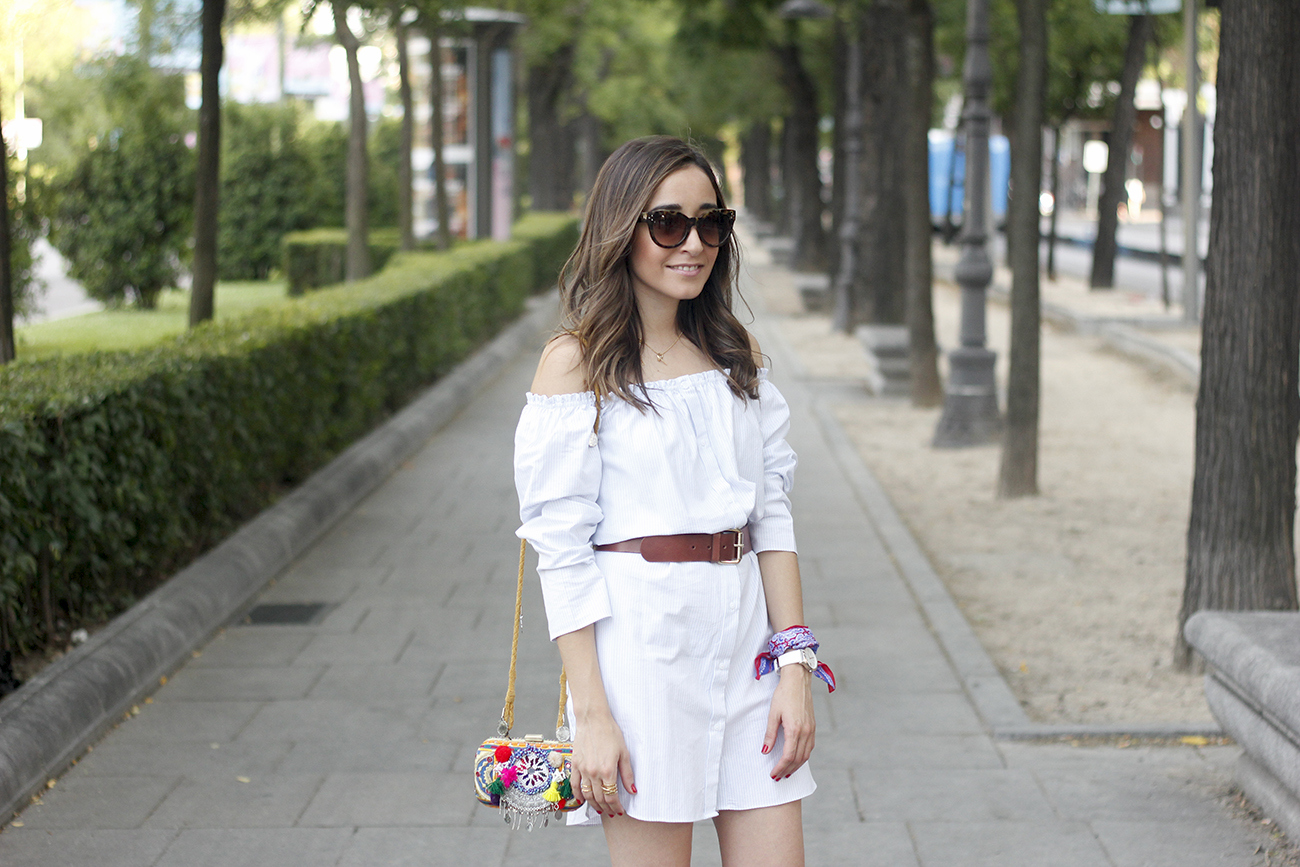 Off the shoulders striped dress belt summer outfit wedges sunnies style15