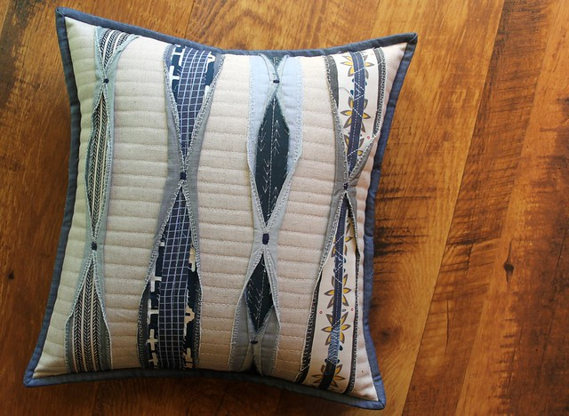 A Pleated Pillow in Denim & Canvas